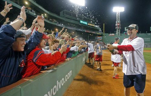 Tim Wakefield sprayed fans.