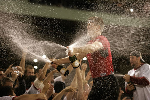 Papelbon hosed down the fans with two bottles of champagne.