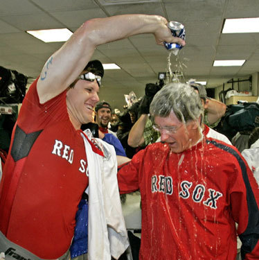 He bought the champagne, but Sox owner John Henry had to settle for a Bud Light shower from Jonathan Papelbon.