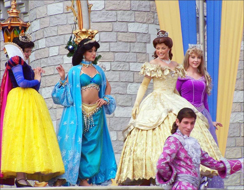 From left: Disney princesses Snow White, Jasmine, Belle, and Aurora also star in the 'Cinderellabration' show.
