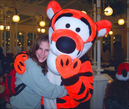 My younger sister Kelly from Maryland was so excited to see Tigger.