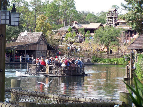 Across from Splash Mountain, take a quick raft ride over to explore Tom Sawyer Island.