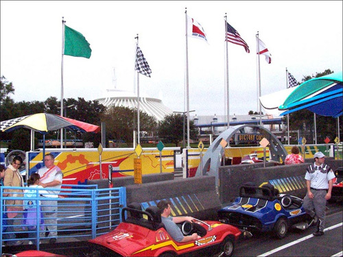 Kids loved getting in the go-carts at the Tomorrowland Indy Speedway.