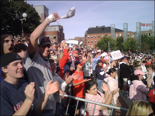 Red Sox fans cheered during a rally at City Hall.