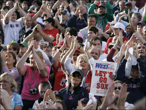 Red Sox fans came out in droves for the rally.