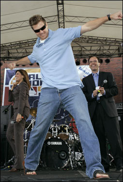 Red Sox closer Jonathan Papelbon did a little jig onstage.