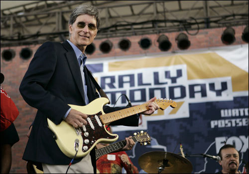 Red Sox owner John Henry played the song 'Dirty Water' with members of the Standells.