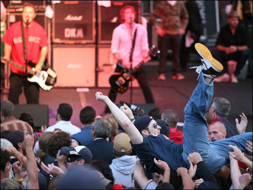 A fan crowd surfed during a performance by the Dropkick Murphys.