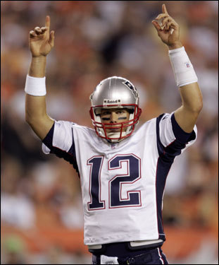 Tom Brady celebrated his first-quarter touchdown pass.