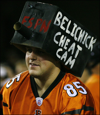 A Bengals fan displayed a 'Belichick Cheat Cam.'