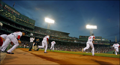 The Red Sox take the field just before the start of Game 1 of the ALDS.