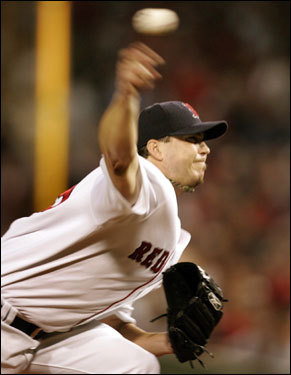 Beckett was making his first postseason appearance as a member of the Red Sox.