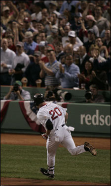 Sox fans cheered as Kevin Youilis crossed the plate after his home run.