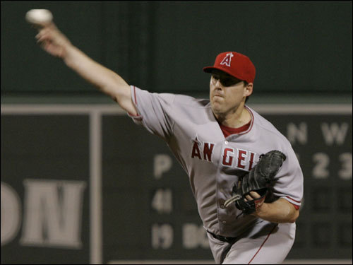 Angels starter John Lackey delivered a pitch in the first inning.