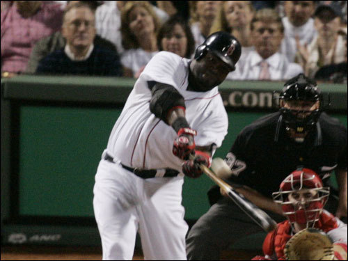 Red Sox DH David Ortiz connected on a pitch for a two-run home run in the third inning.