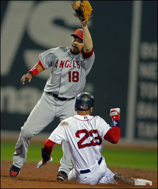 Red Sox shortstop Julio Lugo (22) slid into second base but was tagged out by Angels shortstop Orlando Cabrera (left).