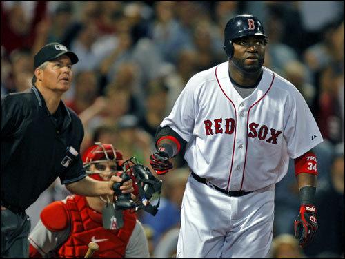 David Ortiz watched the flight of his third inning home run.