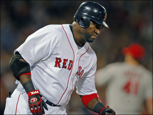 Ortiz rounded first after his home run.