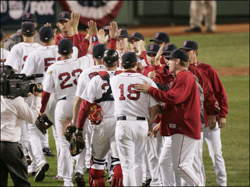 The Red Sox celebrated their victory over the Angels in Game 1 of the ALDS.