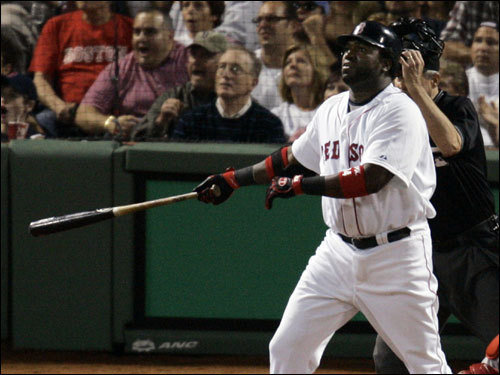 David Ortiz watched his third inning home run find the seats.