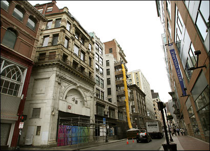 The city has approved Suffolk University's plan for a $35 million renovation that will turn the Modern Theatre (second building from left) into dorms.