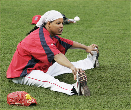 Manny Ramirez did some stretching before the start of Game 2 of the ALDS against the Angels Friday.