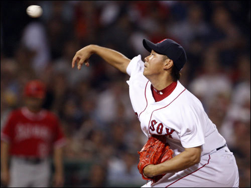 Red Sox starting pitcher Daisuke Matsuzaka delivered a pitch in the first inning.
