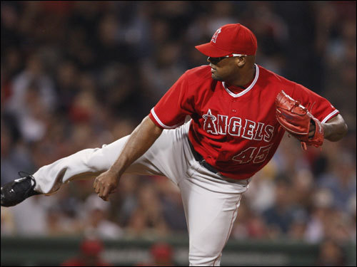 Angels starter Kelvim Escobar delivered a pitch in the bottom of the first inning.