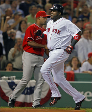 David Ortiz stepped on home plate in the first inning.