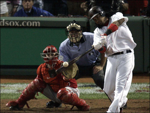 Manny Ramirez hit a three-run walkoff home run in the bottom of the ninth inning to win Game 2 of the ALDS.