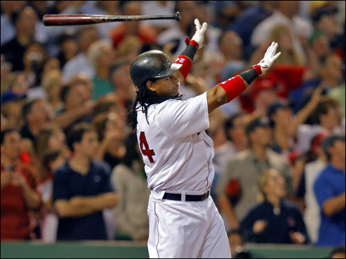 Manny Ramirez reacted immediately to his game-winning home run.