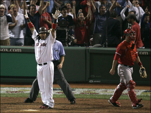 Manny Ramirez celebrated his game-winning home run.