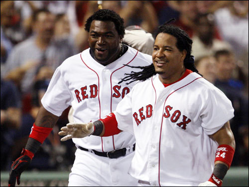 Manny Ramirez (right) and David Ortiz (left) celebrated the 6-3 victory over the Angels