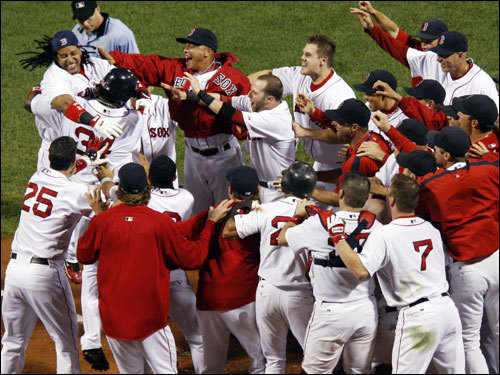 The Red Sox celebrated their dramatic 6-3 victory over the Angels.