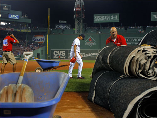 Dice-K walked toward the bullpen prior to the game.