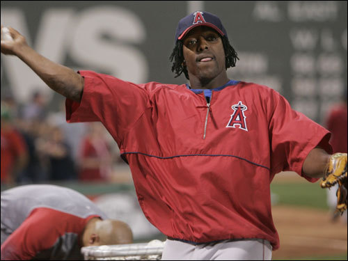 Vlad Guerrero warmed up prior to the game.