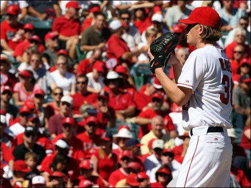 Angels pitcher Jered Weaver made the start in front of a sea of red at Angel Stadium.