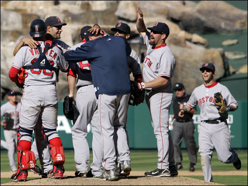 The Red Sox celebrated on the mound after the final out of Game 3 of the ALDS.