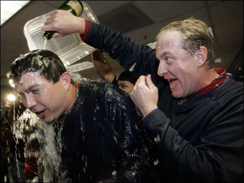 Red Sox ace Josh Beckett got a champagne shower from Schilling.