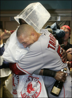 Ortiz (left) and Julian Tavarez (right) hugged during the celebration.