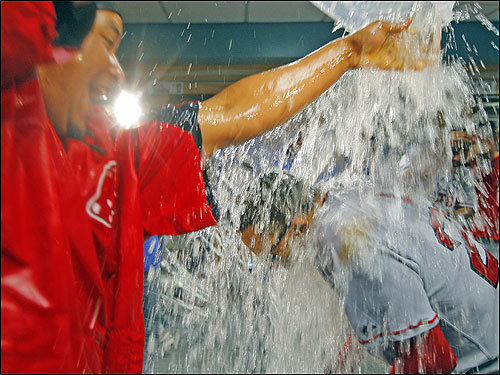 Lugo needed a snorkel as the water kept coming from Manny.