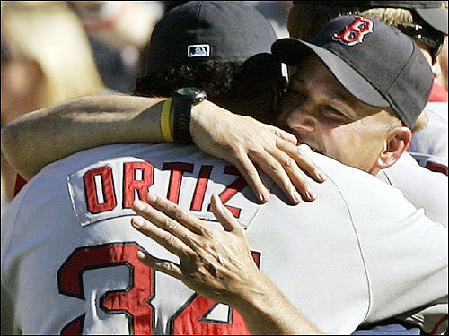 Red Sox manager Terry Francona (right) hugged Ortiz after the Red Sox beat the Angels 9-1 in Game 3 of the ALDS.