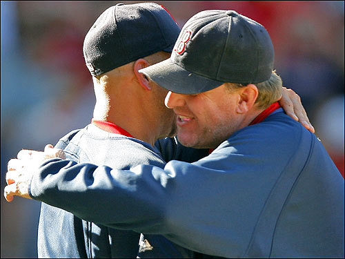 Francona and Schilling hugged after the win.