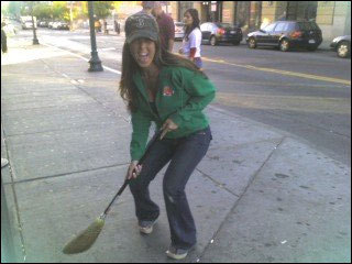 This fan broke out the broom before Game 3 of the ALDS, hoping for a Red Sox sweep. Submitted by Heidi Strasnick.