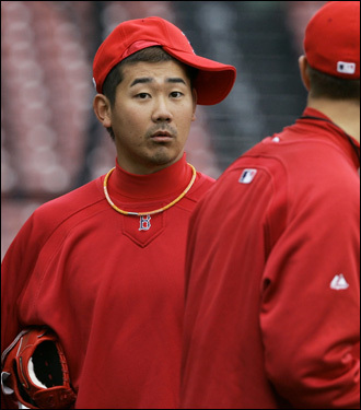 Red Sox pitcher Daisuke Matsuzaka wore his hat sideways at practice.