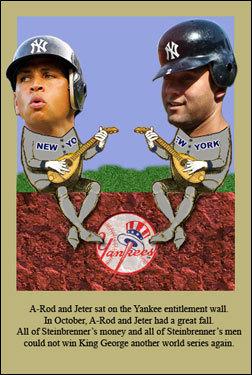 Bernard Bobinski, a Red Sox fan living in Long Island, shows off his Schadenfreude at the Yankees' misfortune.