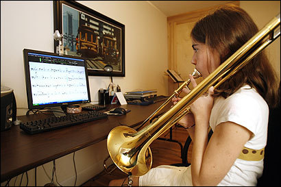 Molly Schineller practiced her trombone at home in Sudbury using SmartMusic.