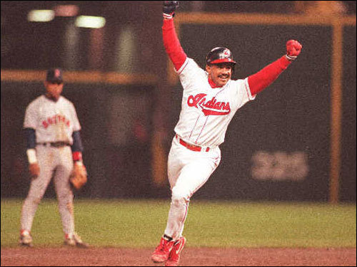 Tony Pena of the Indians celebrated as he rounded the bases after his 13th inning game-winning home run off Sox lefty Zane Smith during Game 1.