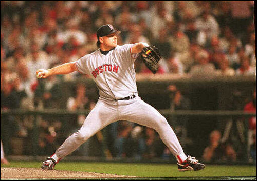 Sox starter Roger Clemens threw during the first inning of Game 1 at Jacobs Field. Game 1 would prove to be the most exciting, and heartbreaking, game of the series. The Sox were swept in three games.