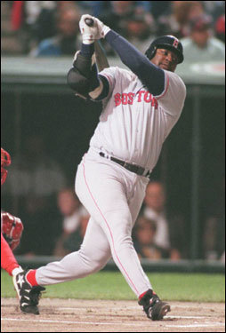 Mo Vaughn of the Red Sox struck out during the first inning of Game 2 against Orel Hershiser of the Indians. Vaughn went 0-for-14 for the series with seven strikeouts.